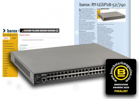 barox RY-LGSP28 Series – leading switch finalist in the Benchmark Innovation Awards 2020